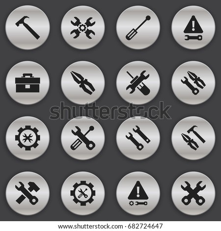 Set Of 16 Editable Toolkit Icons. Includes Symbols Such As Warning, Settings, Pliers Hammer And More. Can Be Used For Web, Mobile, UI And Infographic Design.
