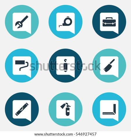 set of 9 editable tools icons