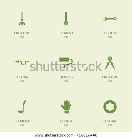 Set Of 9 Editable Tools Icons. Includes Symbols Such As Pliers, Screw Head, Pipe And More. Can Be Used For Web, Mobile, UI And Infographic Design.