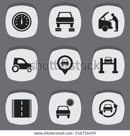 Set Of 9 Editable Traffic Icons. Includes Symbols Such As Pointer, Tuning Auto, Auto Repair And More. Can Be Used For Web, Mobile, UI And Infographic Design.