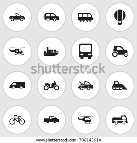 set of 16 editable transport
