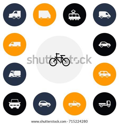 set of 13 editable transport
