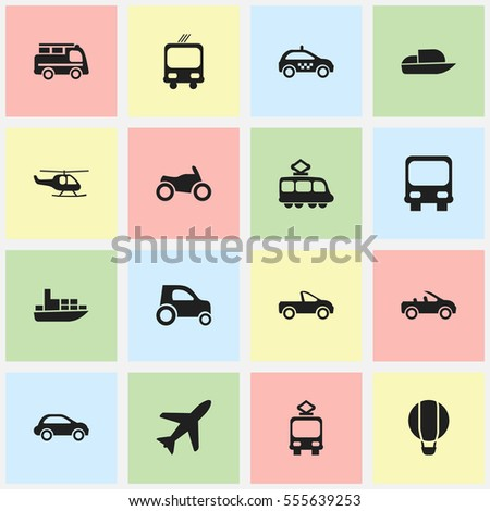 Set Of 16 Editable Transport Icons. Includes Symbols Such As Motorbike, Pickup Truck, Car Vehicle And More. Can Be Used For Web, Mobile, UI And Infographic Design.