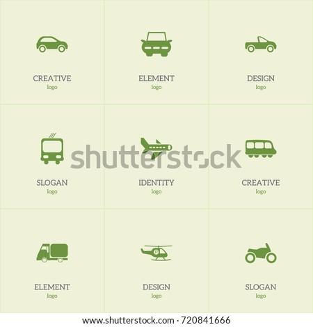 set of 9 editable transport