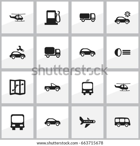 Set Of 16 Editable Transportation Icons. Includes Symbols Such As Airplane, Service Car, Repairing And More. Can Be Used For Web, Mobile, UI And Infographic Design.