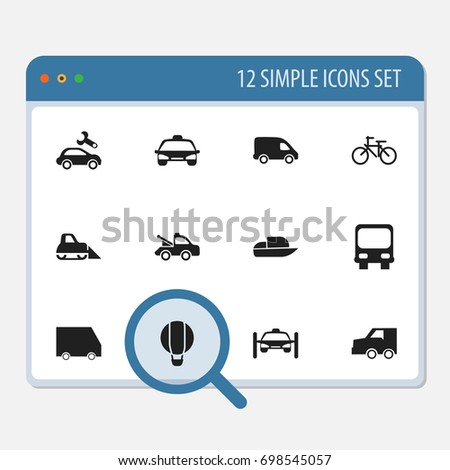 Set Of 12 Editable Transportation Icons. Includes Symbols Such As Yacht, Food Transport, Delivery And More. Can Be Used For Web, Mobile, UI And Infographic Design.