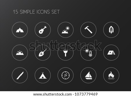 set of 15 editable travel icons