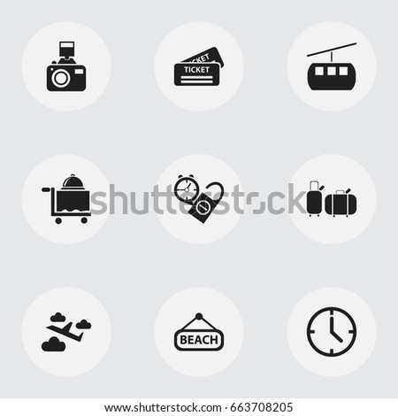 Set Of 9 Editable Travel Icons. Includes Symbols Such As Coupon, Watch, Suitcases And More. Can Be Used For Web, Mobile, UI And Infographic Design.