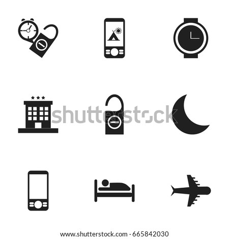 Set Of 9 Editable Travel Icons. Includes Symbols Such As Do Not Disturb, Luxury Inn, Wristwatch And More. Can Be Used For Web, Mobile, UI And Infographic Design.