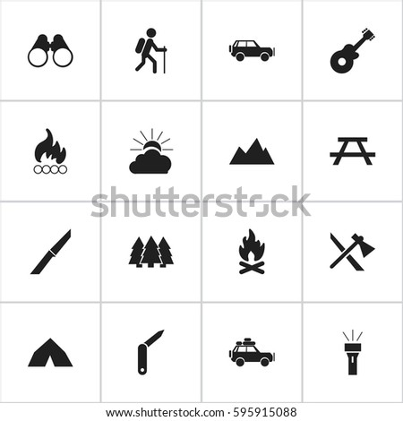 Set Of 16 Editable Travel Icons. Includes Symbols Such As Gait, Knife, Tomahawk And More. Can Be Used For Web, Mobile, UI And Infographic Design.