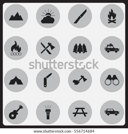 Set Of 16 Editable Travel Icons. Includes Symbols Such As Knife, Clasp-Knife, Sunrise And More. Can Be Used For Web, Mobile, UI And Infographic Design.