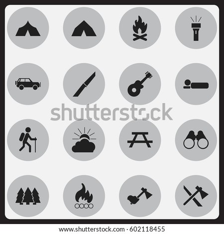 Set Of 16 Editable Travel Icons. Includes Symbols Such As Lantern, Desk, Pine And More. Can Be Used For Web, Mobile, UI And Infographic Design.