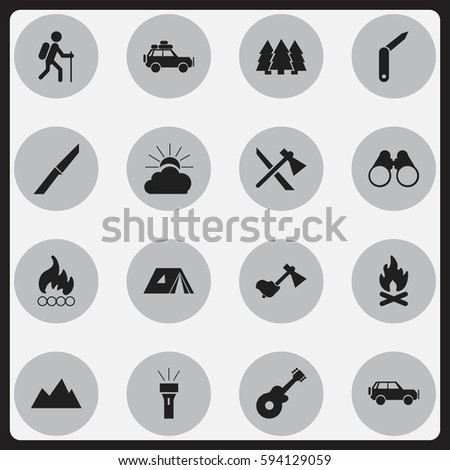 Set Of 16 Editable Trip Icons. Includes Symbols Such As Ax, Gait, Voyage Car And More. Can Be Used For Web, Mobile, UI And Infographic Design.