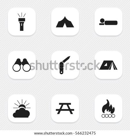 Set Of 9 Editable Trip Icons. Includes Symbols Such As Desk, Lantern, Sunrise And More. Can Be Used For Web, Mobile, UI And Infographic Design.