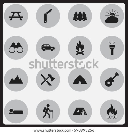 Set Of 16 Editable Trip Icons. Includes Symbols Such As Desk, Sunrise, Sport Vehicle And More. Can Be Used For Web, Mobile, UI And Infographic Design.