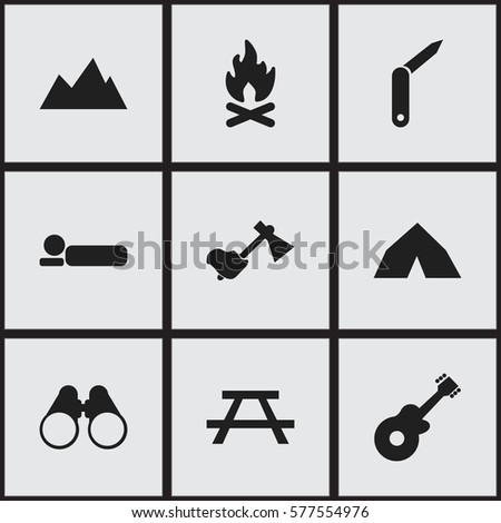 Set Of 9 Editable Trip Icons. Includes Symbols Such As Fever, Clasp-Knife, Desk And More. Can Be Used For Web, Mobile, UI And Infographic Design.