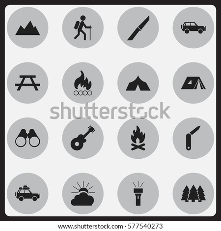 Set Of 16 Editable Trip Icons. Includes Symbols Such As Lantern, Sport Vehicle, Refuge And More. Can Be Used For Web, Mobile, UI And Infographic Design.
