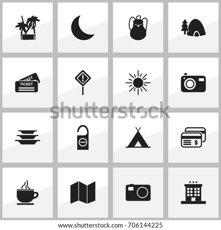 set of 16 editable trip icons
