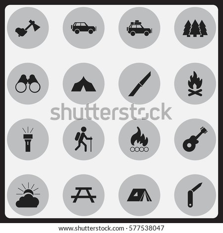 Set Of 16 Editable Trip Icons. Includes Symbols Such As Pine, Knife, Blaze And More. Can Be Used For Web, Mobile, UI And Infographic Design.