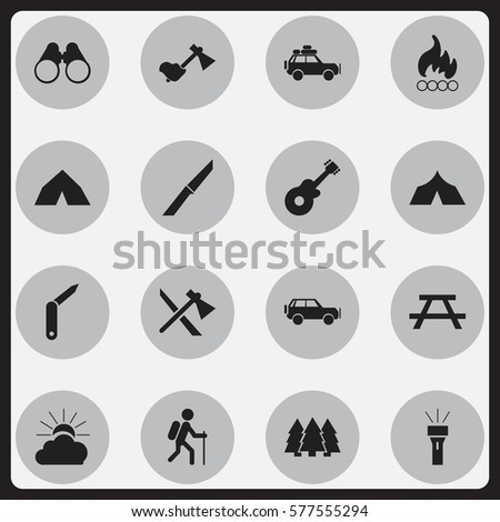 Set Of 16 Editable Trip Icons. Includes Symbols Such As Sunrise, Tepee, Voyage Car And More. Can Be Used For Web, Mobile, UI And Infographic Design.