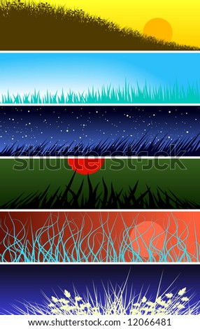 Set of editable vector banners of grass foregrounds