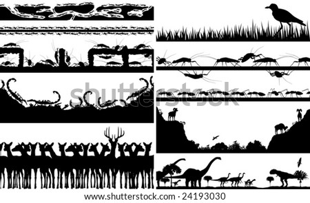 Set of editable vector foregrounds of animal scenes with all individual animals as separate objects