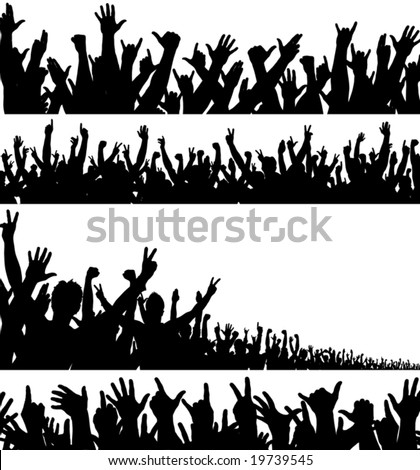 Set of editable vector foregrounds of crowds