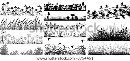 Set of editable vector foregrounds of vegetation and mushrooms