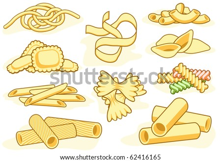 Set of editable vector icons of different pasta shapes