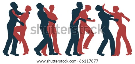 Set of editable vector silhouettes of self defense moves for women Stock photo ©