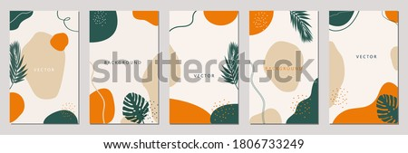 Set of editable vector story templates. Layouts with hand drawn organic shapes and leafs. Abstract backgrounds.Trendy design for social media marketing.Social media kit. Foto stock ©