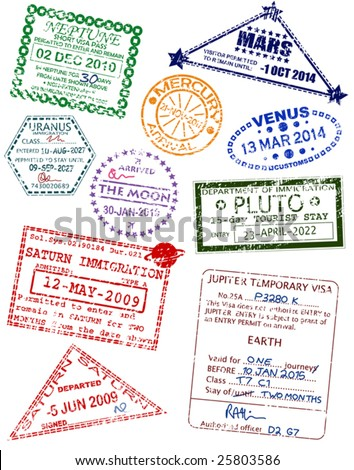 Set of editable vector visas from different planets