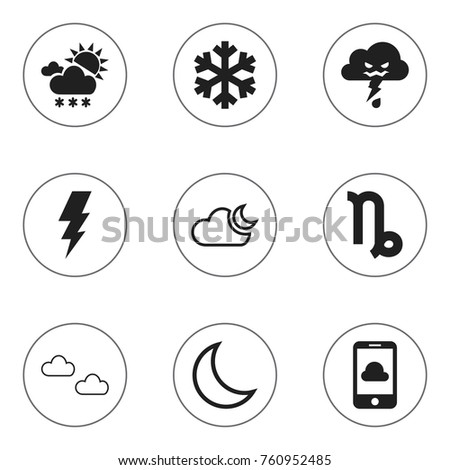 Set Of 9 Editable Weather Icons. Includes Symbols Such As Half Moon, Mist, Phone And More. Can Be Used For Web, Mobile, UI And Infographic Design.