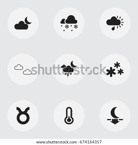 Set Of 9 Editable Weather Icons. Includes Symbols Such As Mist, Drizzle, Bull And More. Can Be Used For Web, Mobile, UI And Infographic Design.
