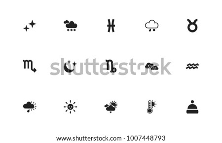 Set of 15 editable weather icons. Includes symbols such as pisces, hail, temperature and more. Can be used for web, mobile, UI and infographic design.