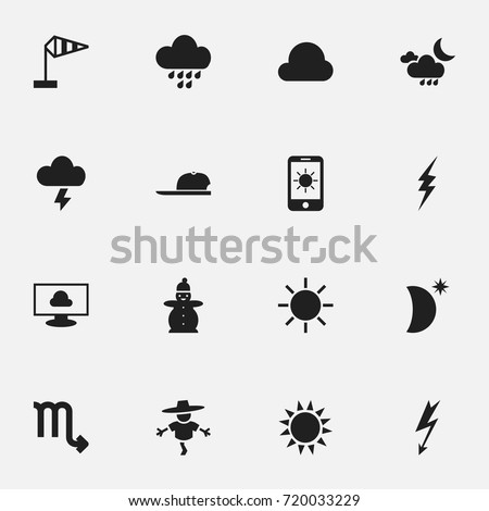 Set Of 16 Editable Weather Icons. Includes Symbols Such As Snow Person, Crescent With Star, Hat And More. Can Be Used For Web, Mobile, UI And Infographic Design.