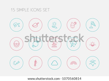 Set of 15 editable weather icons line style. Includes symbols such as thermometer, spectacles, overcast and more. Can be used for web, mobile, UI and infographic design.