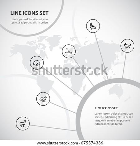 set of 6 editable zoo icons