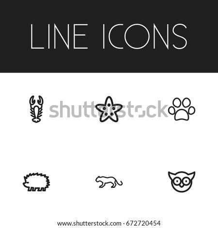 set of 6 editable zoology icons