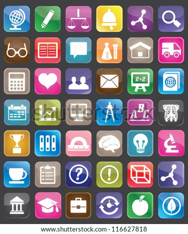 Set of education and science buttons for design - vector icons