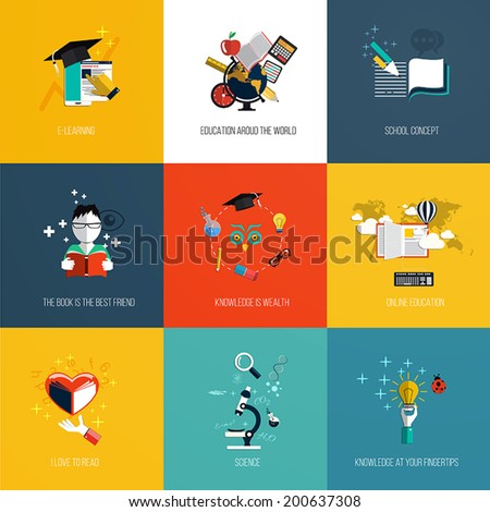Set of education icons.Flat design. Vector
