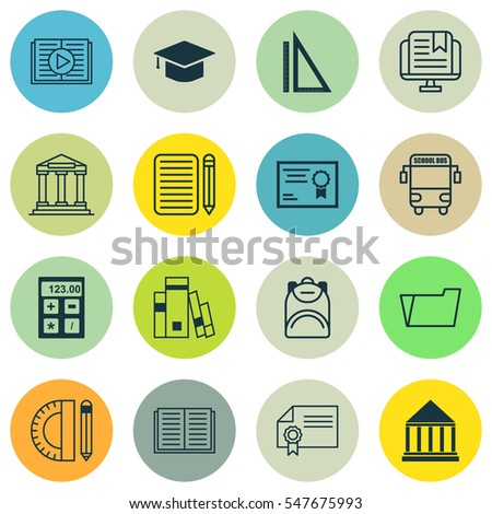 Set Of 16 Education Icons. Includes Diploma, Graduation, College And Other Symbols. Beautiful Design Elements.