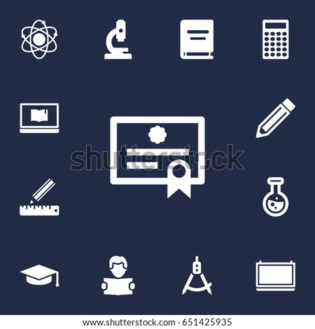 Set Of 13 Education Icons Set.Collection Of Blackboard, Reading, Molecule And Other Elements.