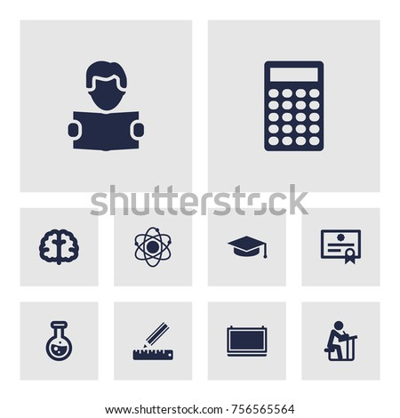 Set Of 10 Education Icons Set.Collection Of Certificate, Calculate, Molecule And Other Elements.