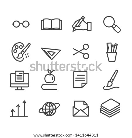 Set of education icons. Stationary outline isolated on white background