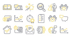 Set of Education icons, such as Best result, Smartphone sms, Interview symbols. Safe time, Ranking stars, Education signs. Diagram chart, Ranking, Mail newsletter. Data analysis. Vector