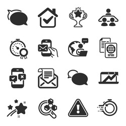 Set of Education icons, such as Chemistry lab, Sales diagram, Messenger symbols. Victory, Passport document, Fast recovery signs. Phone survey, Best result, Mail newsletter. Messenger mail. Vector