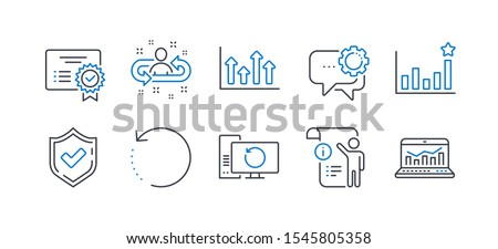Set of Education icons, such as Confirmed, Manual doc, Recovery computer, Recovery data, Efficacy, Recruitment, Employees messenger, Certificate, Upper arrows, Web analytics line icons. Vector
