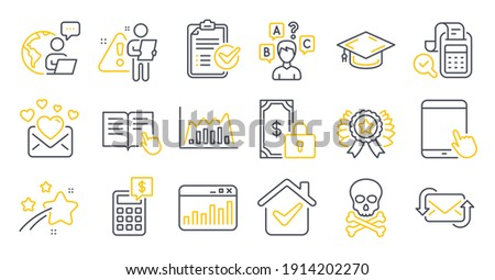 Set of Education icons, such as Marketing statistics, Tablet pc, Winner ribbon symbols. Infographic graph, Calculator, Graduation cap signs. Survey checklist, Private payment, Quiz test. Vector