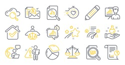 Set of Education icons, such as Pencil, Pie chart, Presentation board symbols. Check article, Timer, Accounting report signs. Chemistry lab, Justice scales, Report. Correct answer. Vector